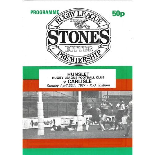 1986/87 Hunslet v Carlisle Rugby League programme