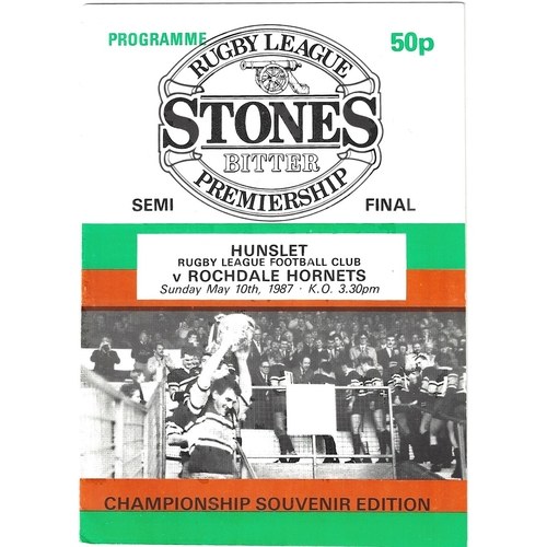 1986/87 Hunslet v Rochdale Hornets Rugby League programme