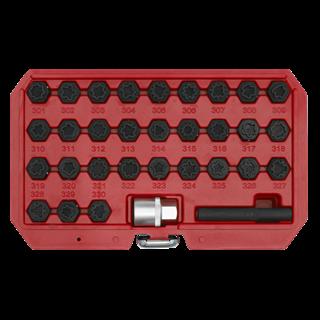 Locking Wheel Nut Key Set 32pc - Mercedes - Sealey - SX213