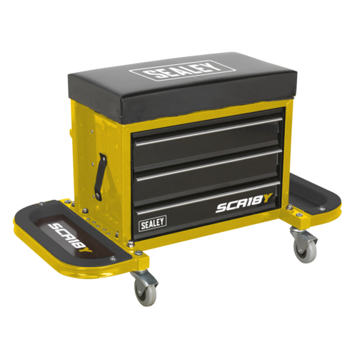 Mechanic's Utility Seat & Toolbox - Yellow - Sealey - SCR18Y