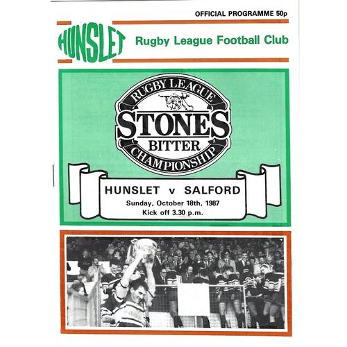 1987/88 Hunslet v Salford Rugby League programme