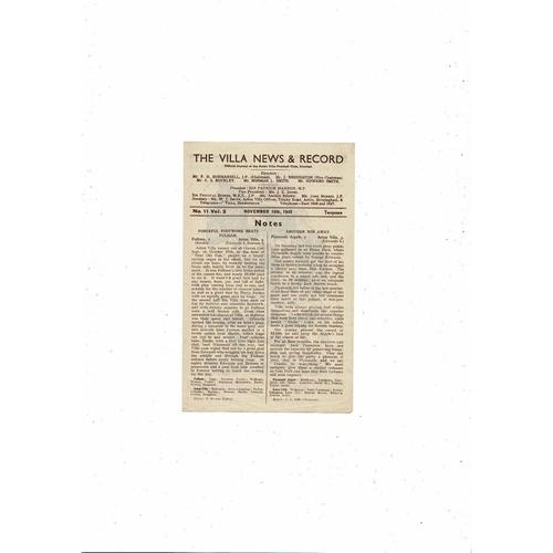1945/46 Aston Villa v Plymouth Argyle Football Programme
