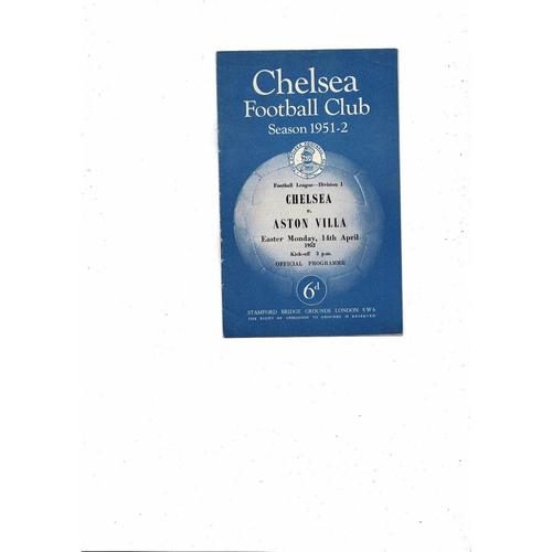 1951/52 Chelsea v Aston Villa Football Programme