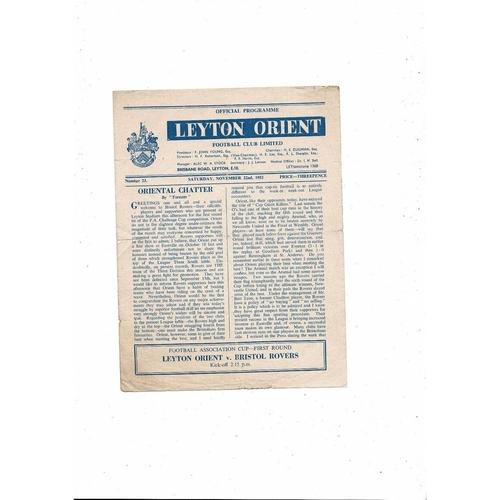 1952/53 Leyton Orient v Bristol Rovers FA Cup Football Programme