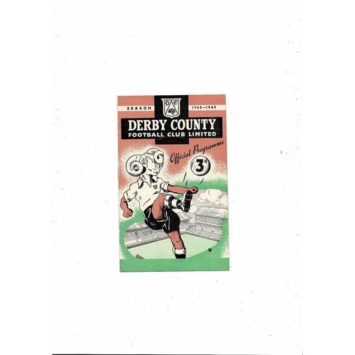 1948/49 Derby County v Aston Villa Football Programme