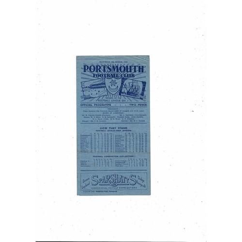 1948/49 Portsmouth v Aston Villa Football Programme