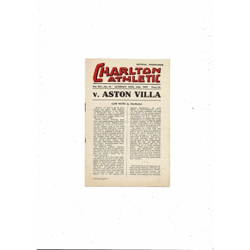 1948/49 Charlton Athletic v Aston Villa Football Programme