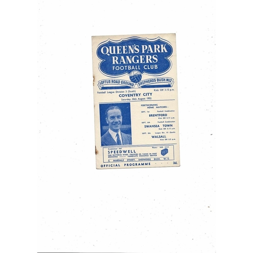 1952/53 Queens Park Rangers v Coventry City Football Programme