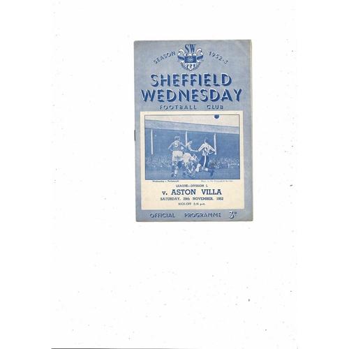 1952/53 Sheffield Wednesday v Aston Villa Football Programme