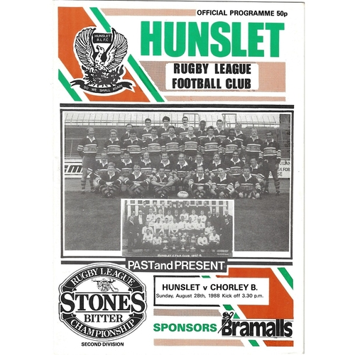 1988/89 Hunslet v Chorley Borough Rugby League programme