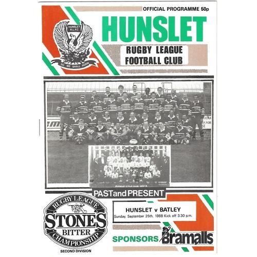 1988/89 Hunslet v Batley Rugby League programme