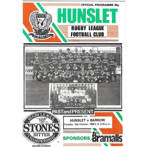 1988/89 Hunslet v Barrow Rugby League programme