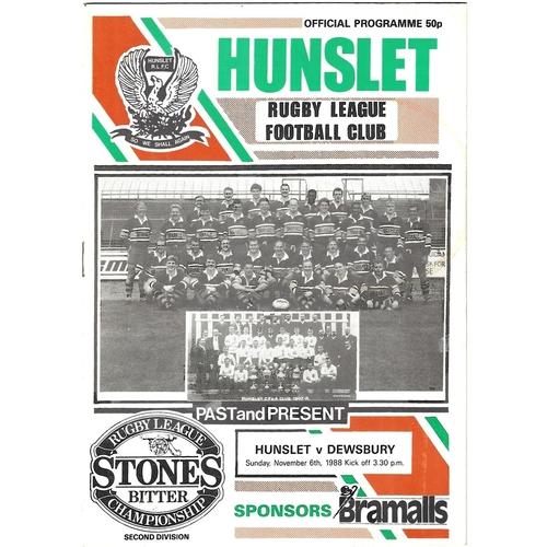 1988/89 Hunslet v Dewsbury Rugby League programme