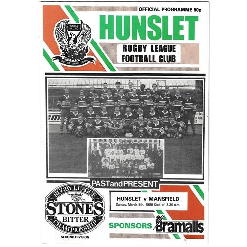 1988/89 Hunslet v Mansfield Marksmen Rugby League programme