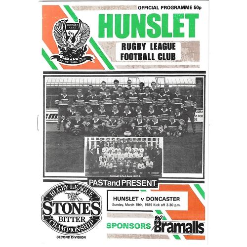 1988/89 Hunslet v Doncaster Rugby League programme