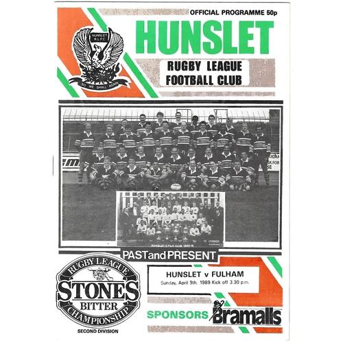 1988/89 Hunslet v Fulham Rugby League programme