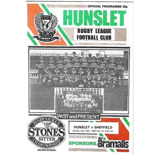 1988/89 Hunslet v Sheffield Eagles Rugby League programme