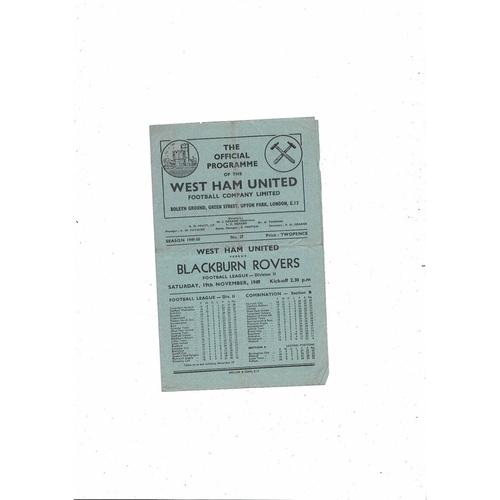 1949/50 West Ham United v Blackburn Rovers Football Programme