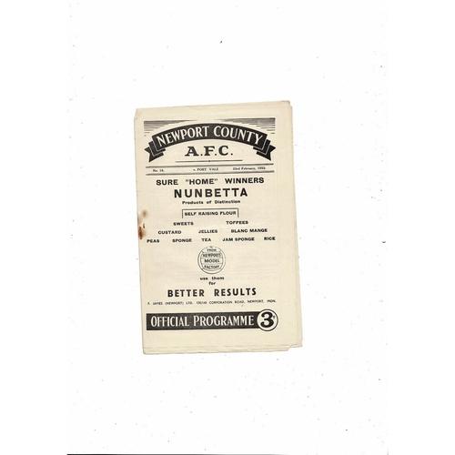 1951/52 Newport County v Port Vale Football Programme