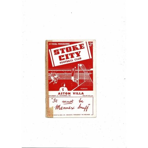 1952/53 Stoke City v Aston Villa Football Programme