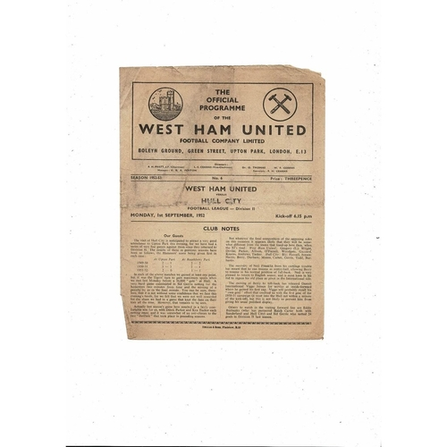 1952/53 West Ham United v Hull City Football Programme