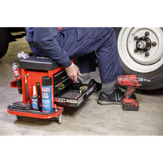Mechanic's Utility Seat & Toolbox - Red - Sealey - SCR18R