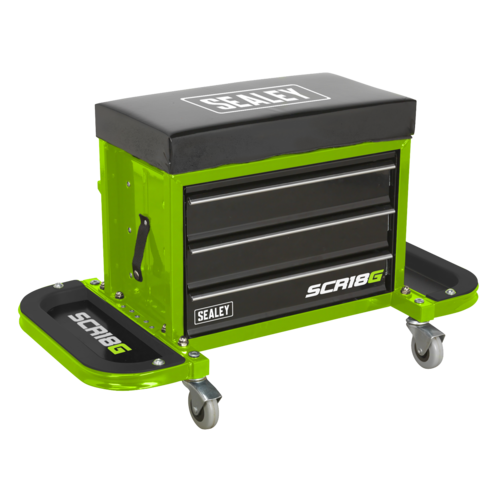 Mechanic's Utility Seat & Toolbox - Hi-Vis Green - Sealey - SCR18G