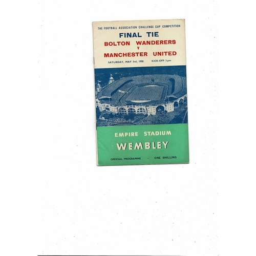1958 Bolton Wanderers v Manchester United FA Cup Final Football Programme