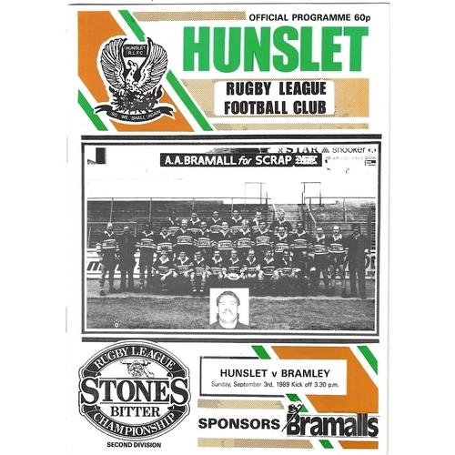 1989/90 Hunslet v Bramley Rugby League programme