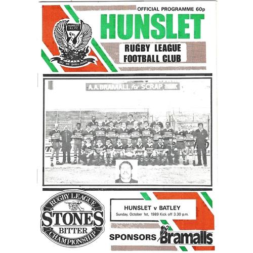 1989/90 Hunslet v Batley Rugby League programme