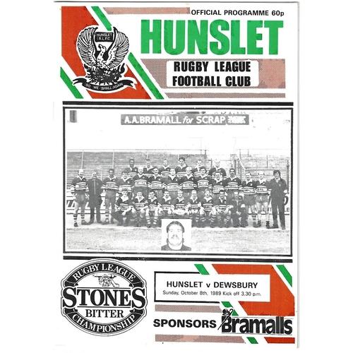 1989/90 Hunslet v Dewsbury Rugby League programme