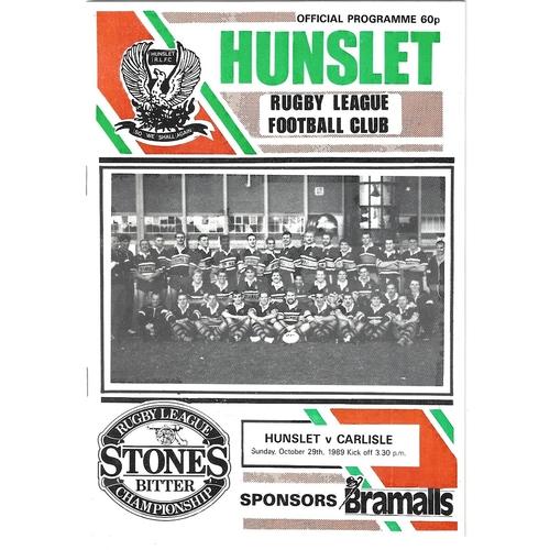 1989/90 Hunslet v Carlisle Rugby League programme