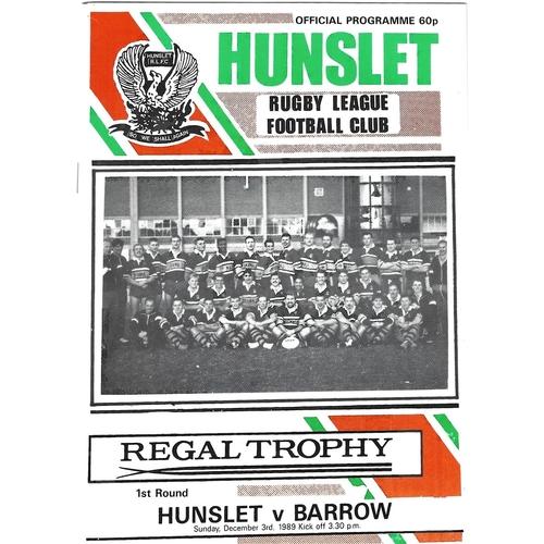 1989/90 Hunslet v Barrow Regal Trophy 1st Round Rugby League programme