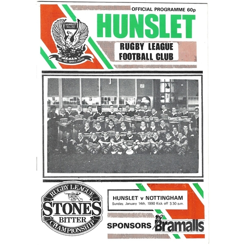 1989/90 Hunslet v Nottingham City Rugby League programme