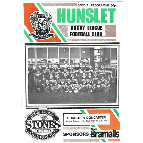 1989/90 Hunslet v Doncaster Rugby League programme