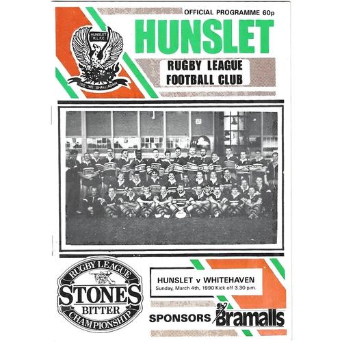 1989/90 Hunslet v Whitehaven Rugby League programme