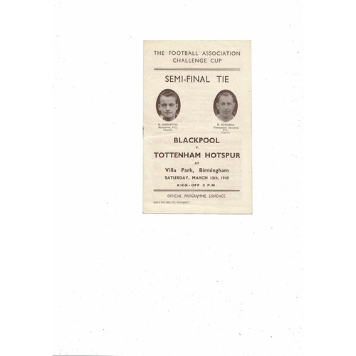 1948 Blackpool v Tottenham Hotspur FA Cup Semi Final Football Programme