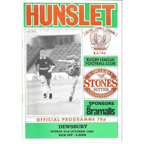 1990/91 Hunslet v Dewsbury Rugby League programme