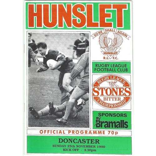 1990/91 Hunslet v Doncaster Rugby League programme