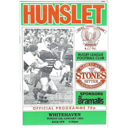 1990/91 Hunslet v Whitehaven Rugby League programme