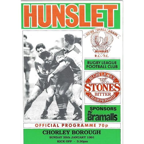 1990/91 Hunslet v Chorley Borough Rugby League programme
