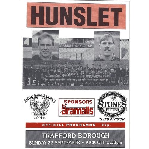 1991/92 Hunslet v Trafford Borough Rugby League programme