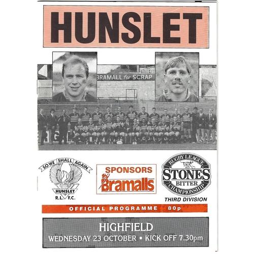 1991/92 Hunslet v Highfield Rugby League programme