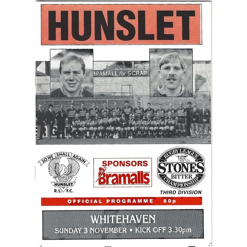 1991/92 Hunslet v Whitehaven Rugby League programme