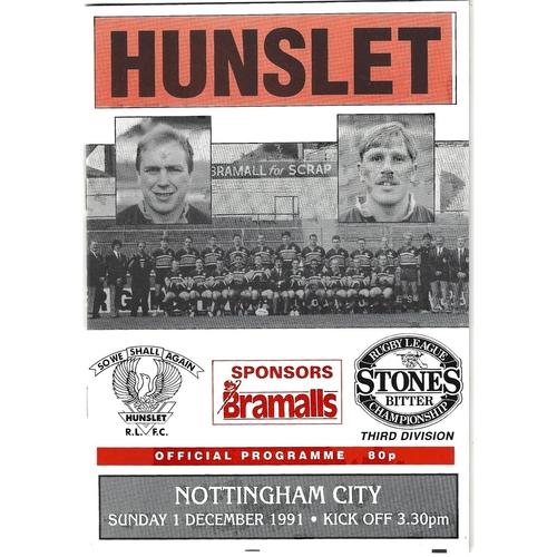 1991/92 Hunslet v Nottingham City Rugby League programme