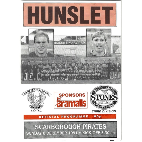 1991/92 Hunslet v Scarborough Pirates Rugby League programme