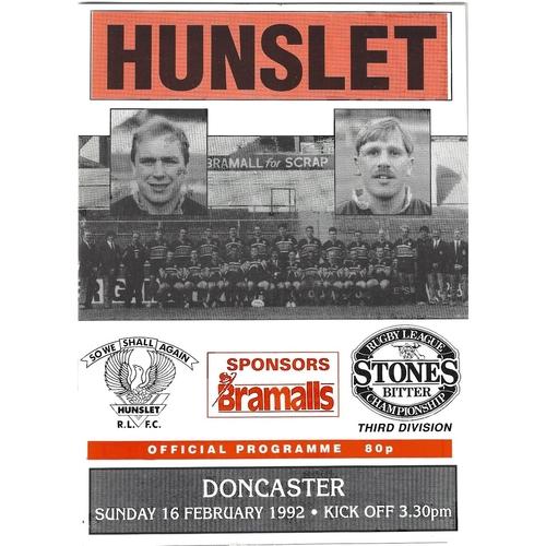 1991/92 Hunslet v Doncaster Rugby League programme