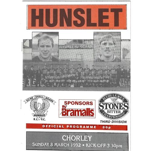 1991/92 Hunslet v Chorley Borough Rugby League programme