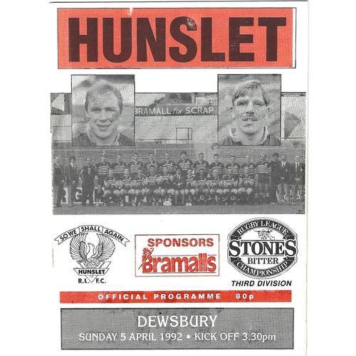1991/92 Hunslet v Dewsbury Rugby League programme