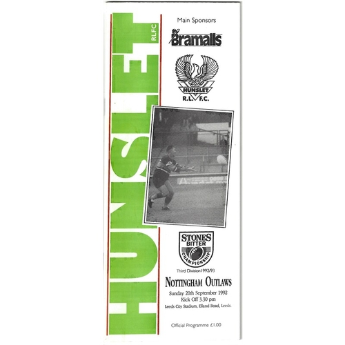 1992/93 Hunslet v Nottingham Outlaws Rugby League programme